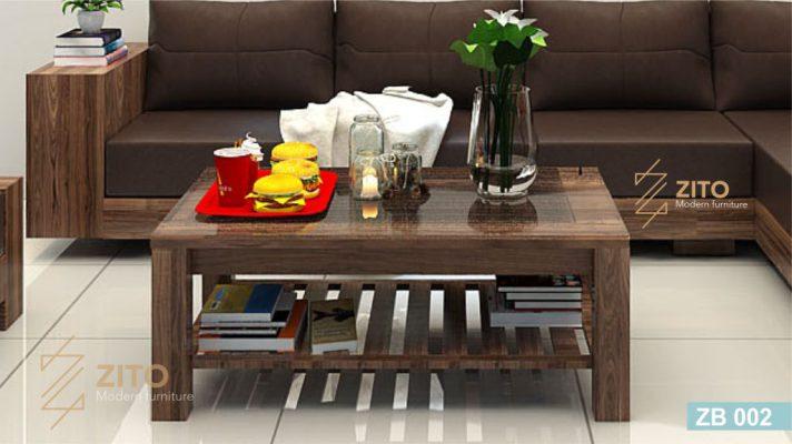 Mẫu bàn trà gỗ Sồi đẹp hiện nay kết hợp cùng sofa