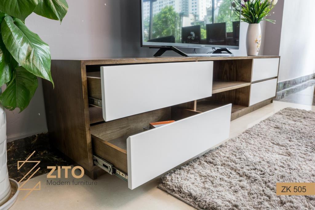 Thiết kế kệ tivi gỗ tự nhiên ZK 505