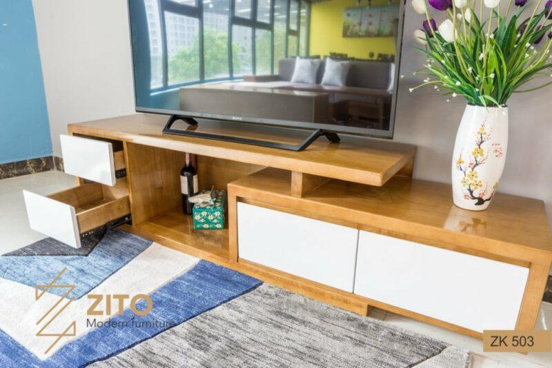 Kệ tivi đẹp bằng gỗ ZK 503 tiện lợi với nhiều ngăn đựng đồ