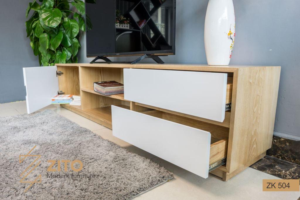 Kiểu dáng kệ để tivi bằng gỗ ZK 504 nhiều tiện ích