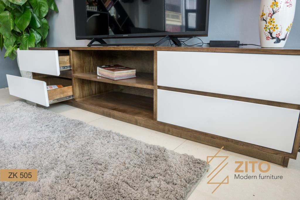kệ tivi gỗ tự nhiên ZK 505 S08 có thiết kế nhỏ gọn