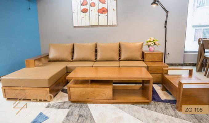 Sofa gỗ Sồi chữ L ZG 105 S05