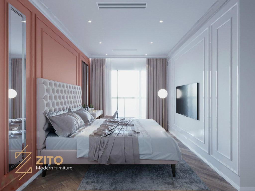 phòng ngủ lớn thiết kế đơn giản với tông màu sáng làm chủ đạo