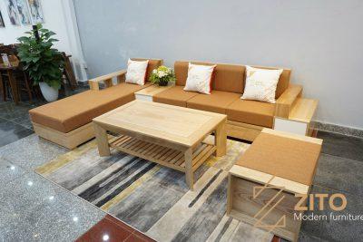 Sofa gỗ sồi chữ L ZG 110 S01