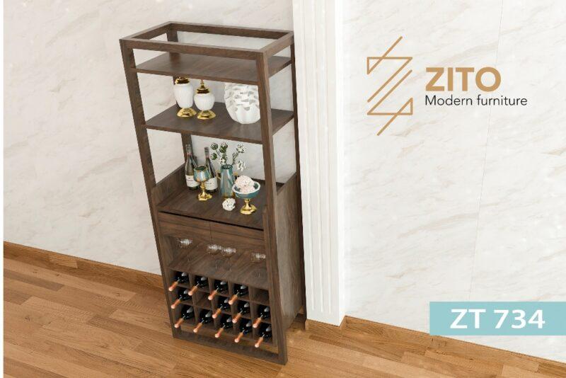ZT 734 3 Tủ rượu gỗ Sồi ZT 734