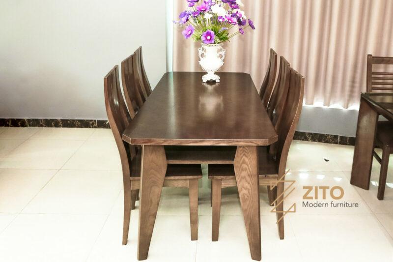 Bộ bàn ghế ăn gỗ sồi màu hạt dẻ ZBA 601 & ZGA 603 S09