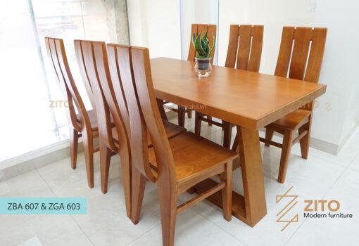 Bộ bàn ghế phòng ăn đẹp ZGB 607 và ZGA 603 Z