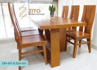 bàn ghế phòng ăn gỗ sồi ZBA 607 & ZGA 603