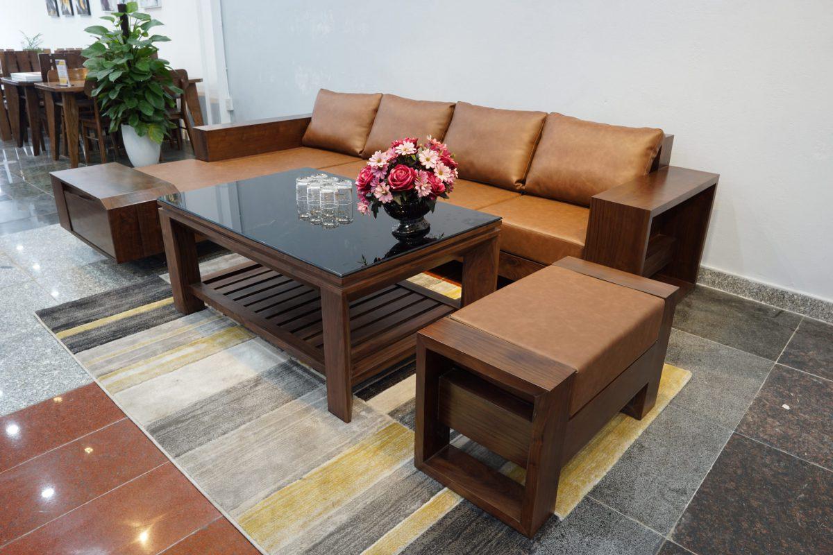 Bàn ghế sofa gỗ óc chó bền đẹp tại ZITO
