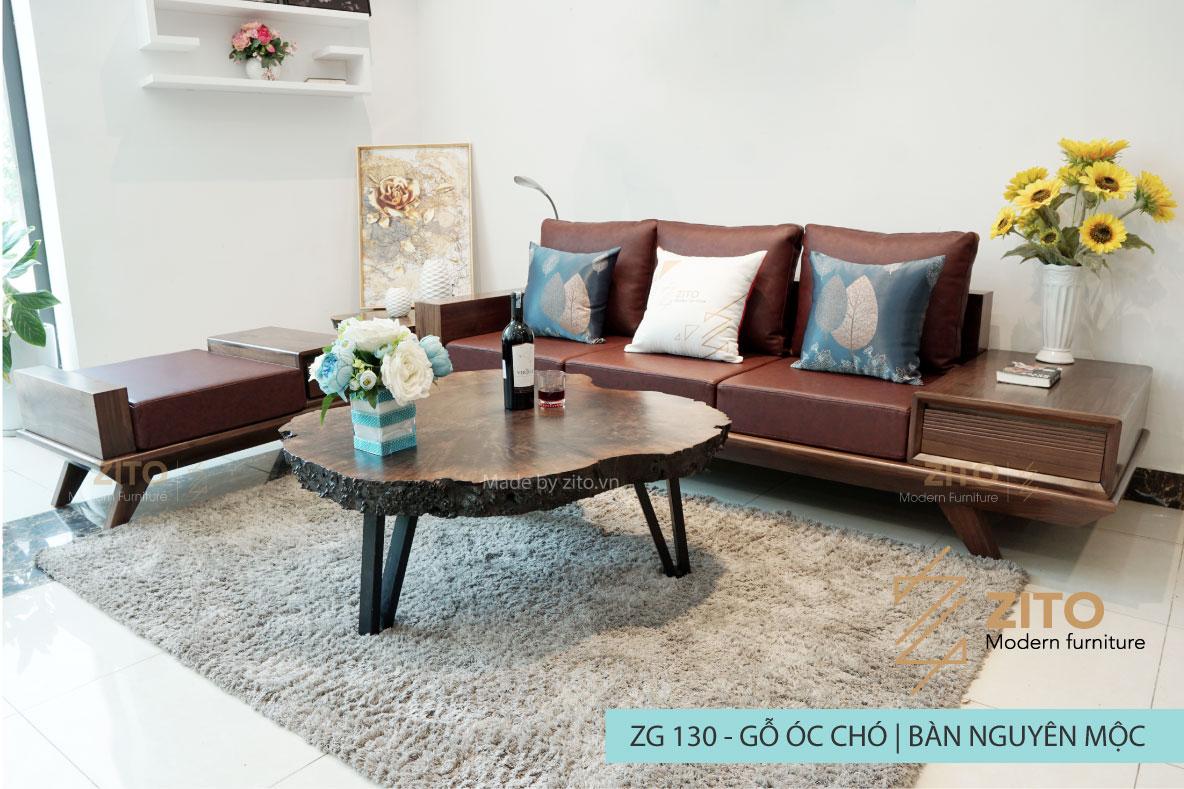 Combo bàn ghế sofa văng gỗ óc chó ZG 130 cao cấp