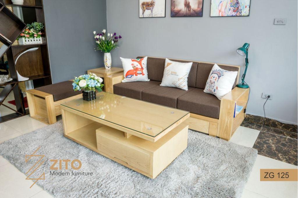 sofa gỗ sồi đệm