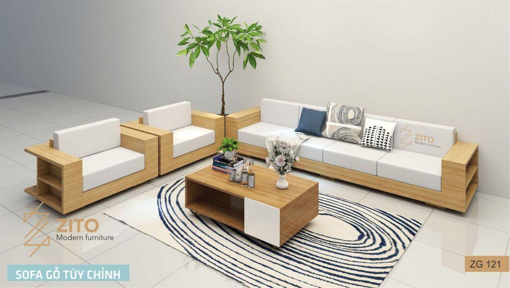 Sofa gỗ sồi chữ U ZG 121