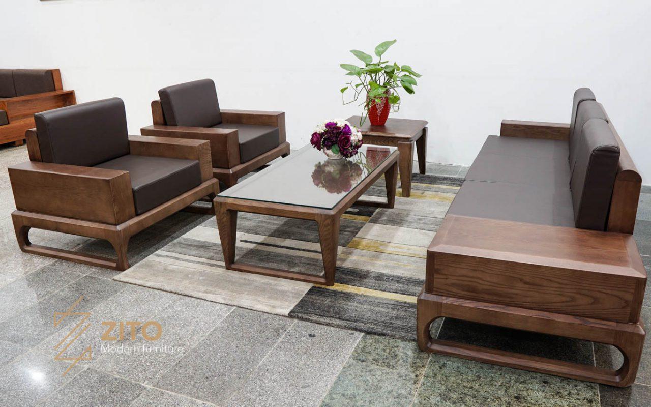 Bộ sofa chữ u gỗ sồi nga phù hợp phòng khách biệt thự hoặc nhà lớn