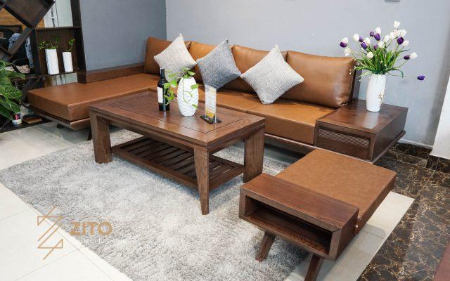 Sofa gỗ sồi góc L ZG 132 S08