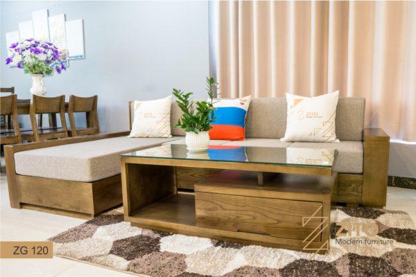 Bàn ghế sofa gỗ óc chó cao cấp sang trọng hiện đại