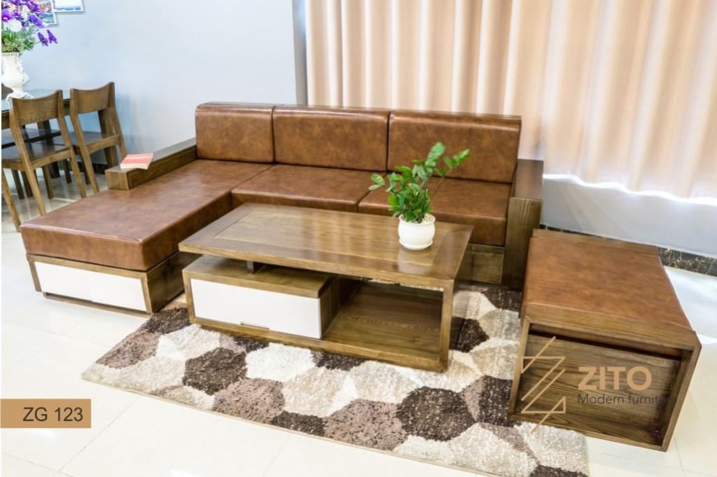 sofa gỗ zg 123 màu óc chó lau vân