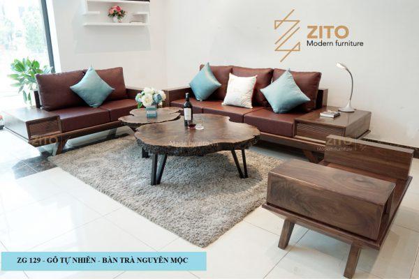 Sofa chữ U gỗ óc chó ZG 129 OC