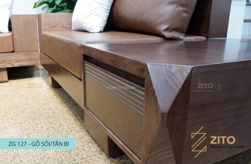 Sofa gỗ sồi chữ U ZG 127