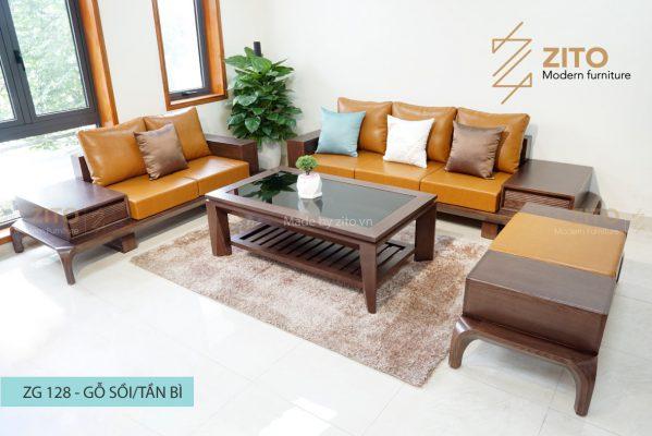 Sofa gỗ sồi chữ U ZG 128 S09