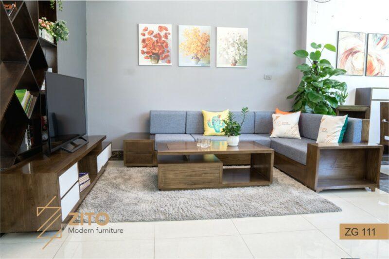 Sofa gỗ sồi chữ L ZG 111 S08, ZG 111 S08