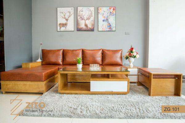 Sofa gỗ chất lượng vượt trội với đệm Da Microfiber