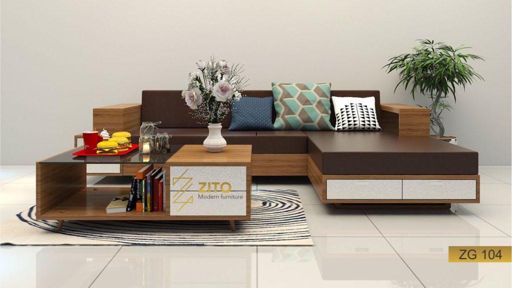 Thiết kế sofa gỗ Sồi chữ L ZG 104