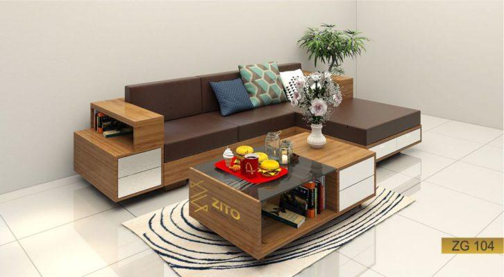 Sofa góc l gỗ tự nhiên ZG 104