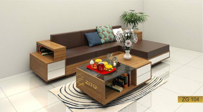 sofa gỗ Sồi chữ L ZG phòng khách