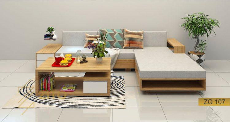 Sofa gỗ sồi chữ L ZG 107