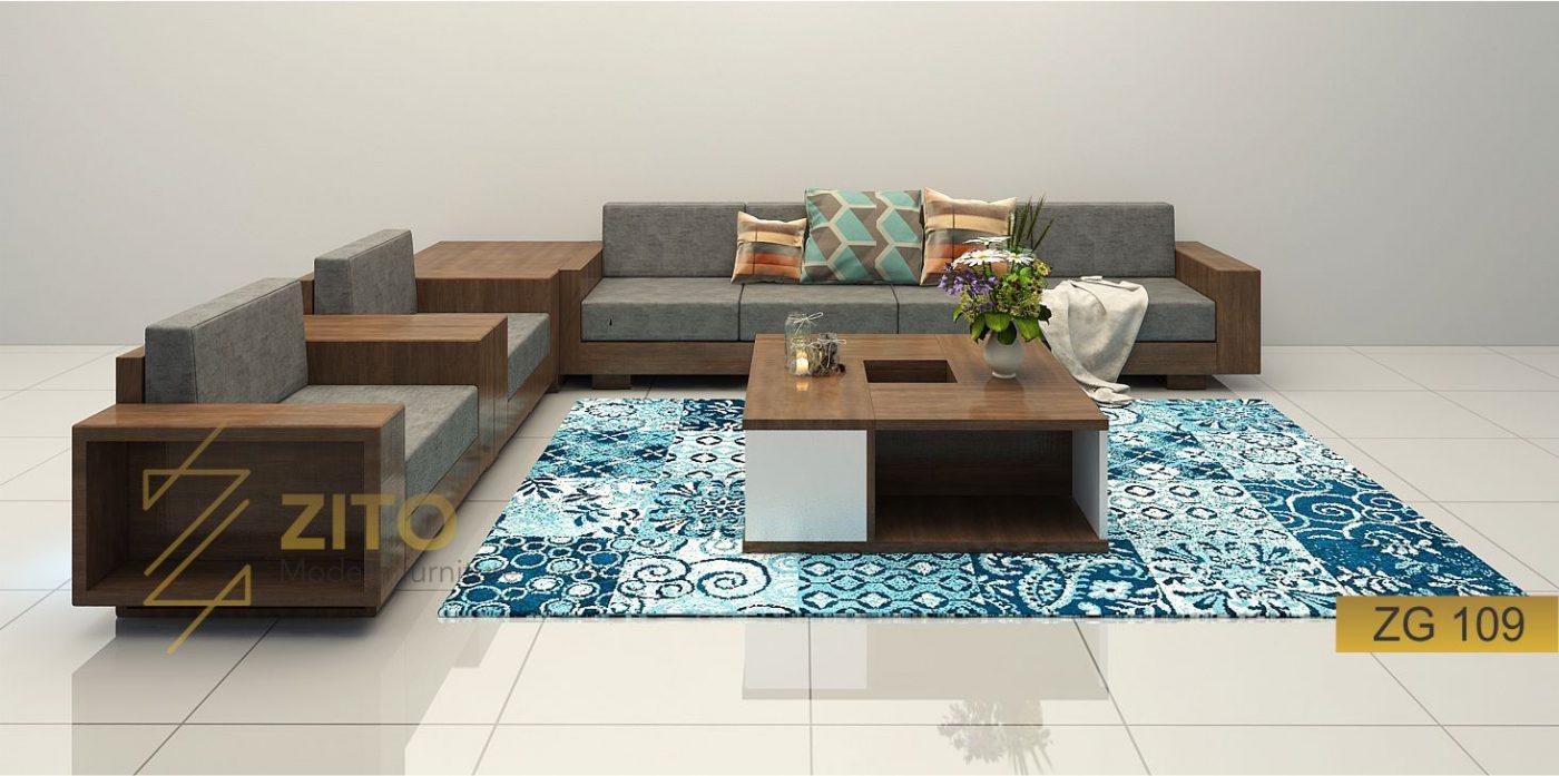 Sofa gỗ sồi chữ U ZG 109