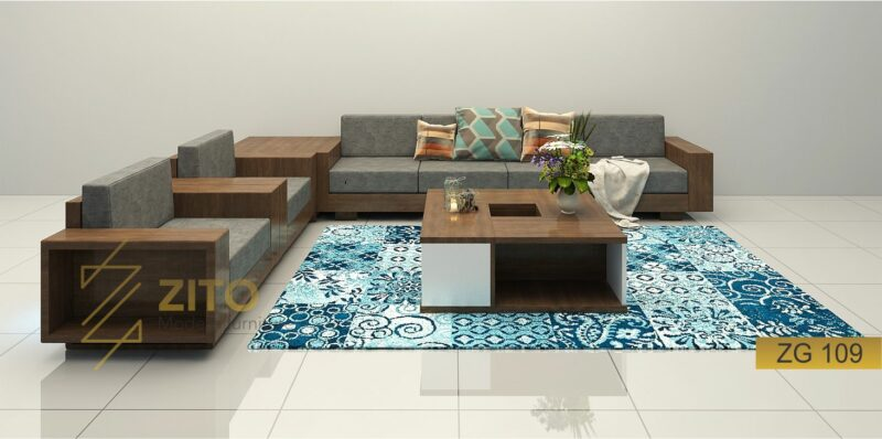 Sofa gỗ tự nhiên góc chữ U ZG 109