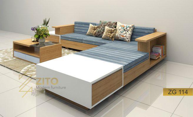 Sofa gỗ tự nhiên góc chữ L ZG 114
