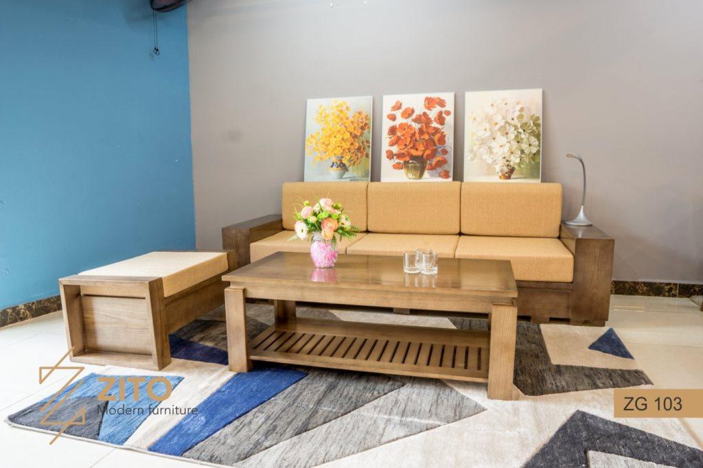 sofa gỗ sồi 7 món
