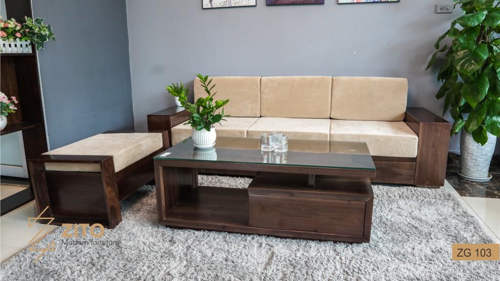 Bàn ghế sofa làm bằng gỗ óc chó cao cấp cho biệt thự