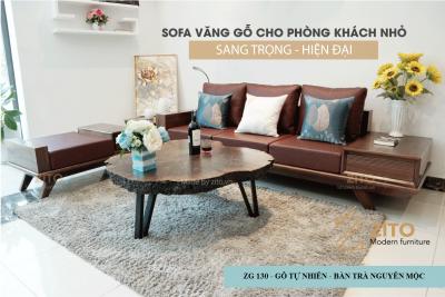 sofa văng gỗ óc chó sang trọng cho phòng khách