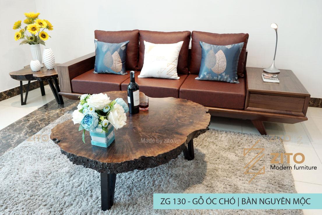Kiểu dáng sofa văng gỗ óc chó ZG 130 cho phòng khách nhỏ