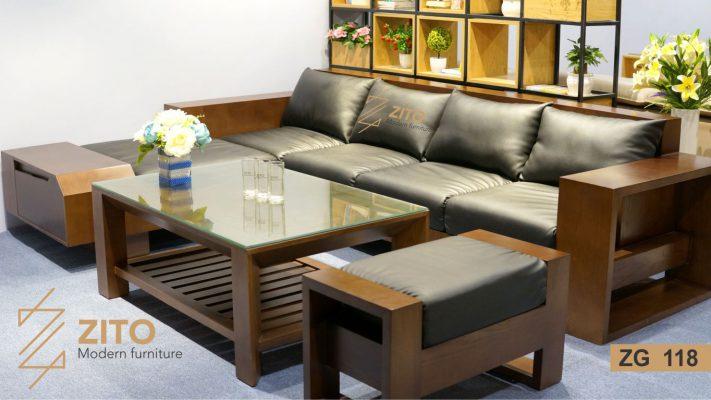 Siêu thị nội thất ZITO – Kết hợp bàn trà gỗ hiện đại và sofa gỗ phòng khách
