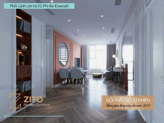 thiết kế thi công nội thất căn 2PN The Emerald