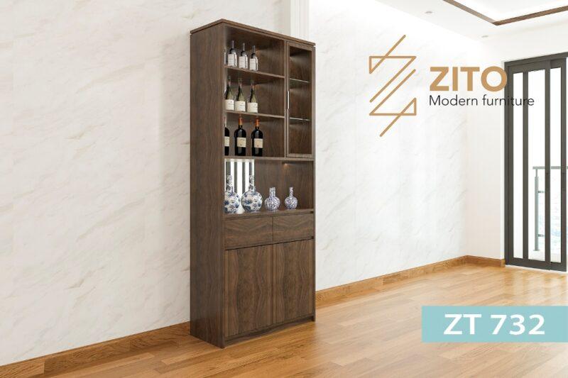 tu ruou go ZT 732 1 3 Tủ rượu gỗ Sồi ZT 732