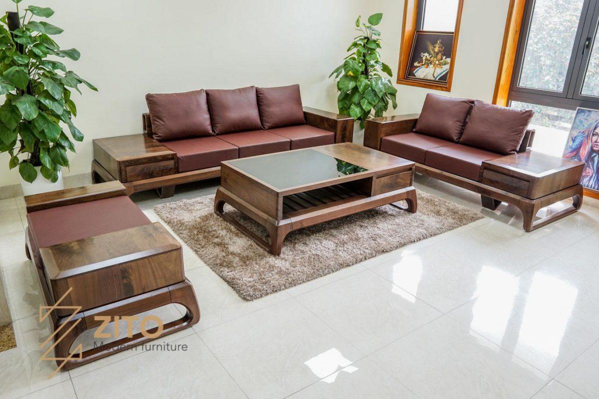 bộ bàn ghế gỗ óc chó cho nhà đất