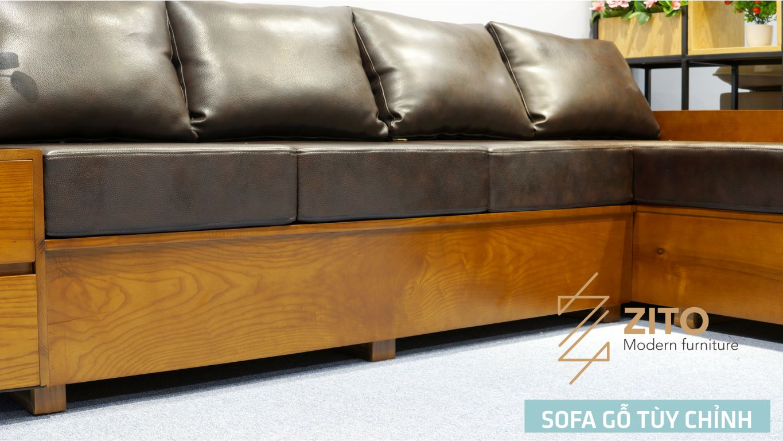 Sofa gỗ Sồi chữ L hiện đại ZG 101
