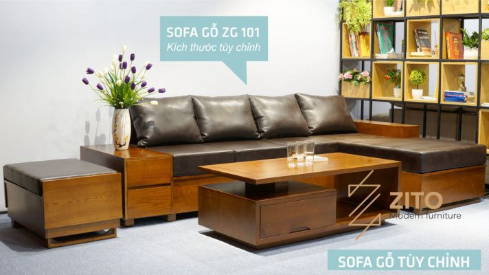 Sofa gỗ Sồi chữ L ZG 101 S04