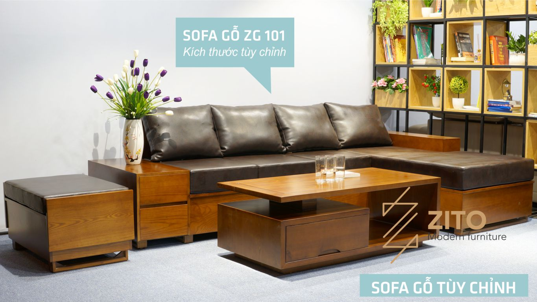 Sofa gỗ Sồi chữ L ZG 101 S04 hiện đại