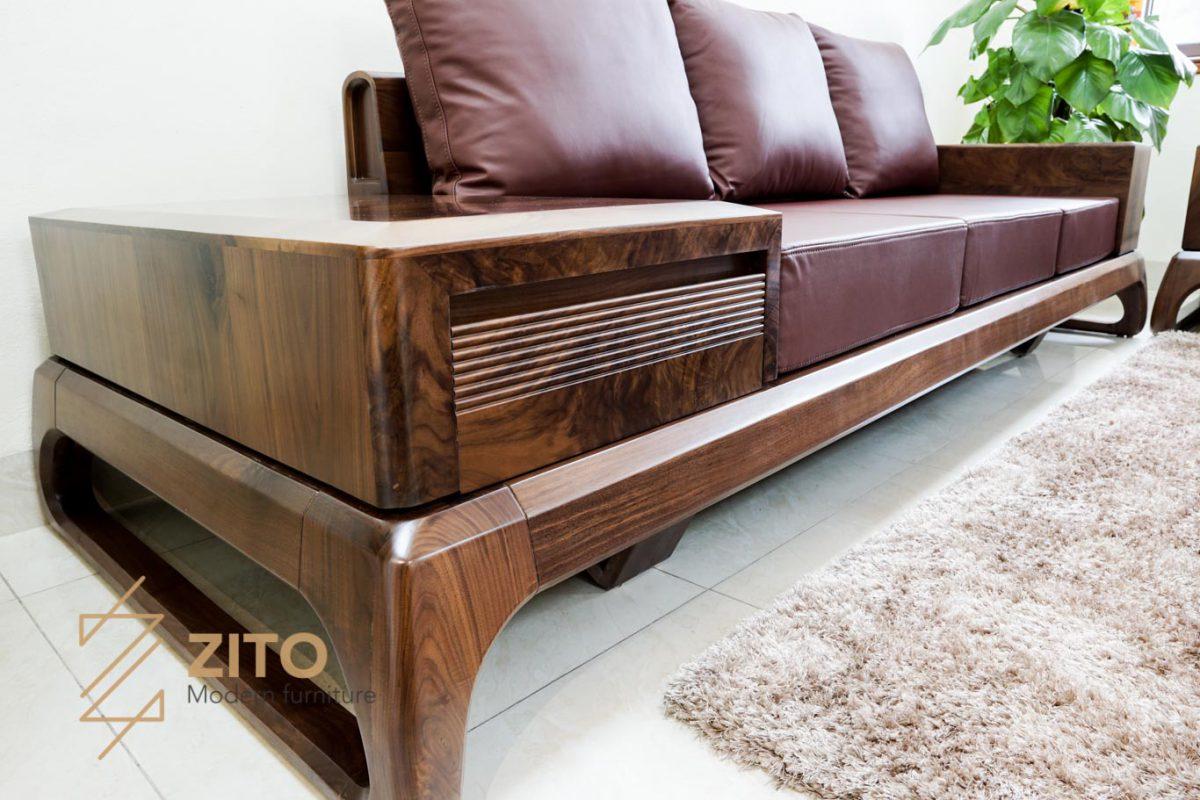 tap ghế sofa óc chó góc chữ u ZG 156 hợp phong thủy
