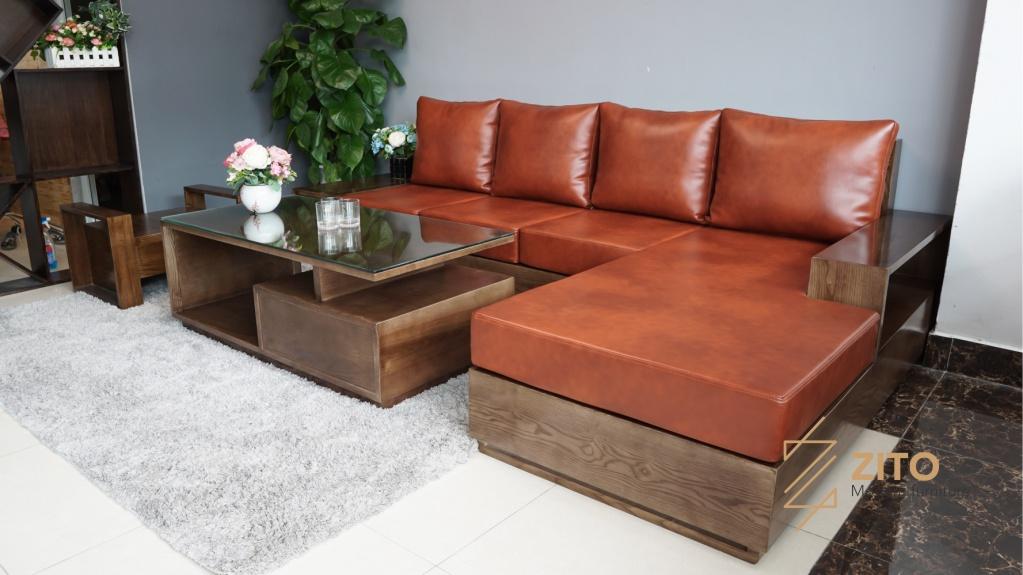 Mẫu Sofa gỗ chữ L ZG 101 S08