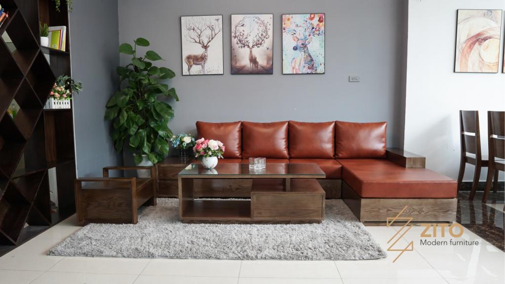 Sofa gỗ sồi chữ L ZG 101 màu óc chó lau vân