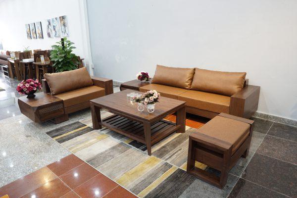 Sofa chữ U gỗ óc chó ZG 127 OC