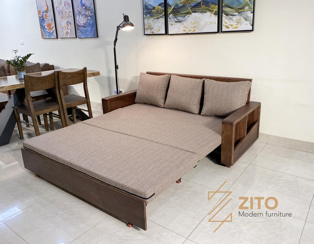 Thiết kế ghế sofa giường gỗ sồi nga thông minh ZG 151