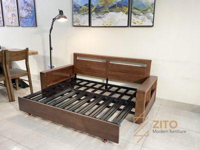 Ghế sofa giường gỗ ZG 151 S08 có khung sắt chắc chắn