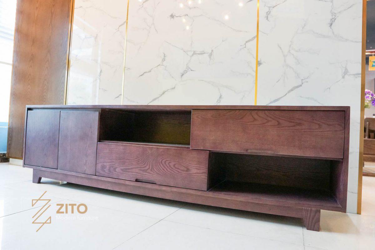 Kệ tivi nhỏ gọn ZK 509 S08 làm bằng gỗ Sồi tự nhiên cao cấp